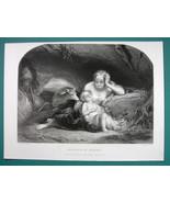 YOUNG MAIDEN Genevieve of Brabant Sleeping Baby Deer- SUPERB 1850s Antiq... - $22.95