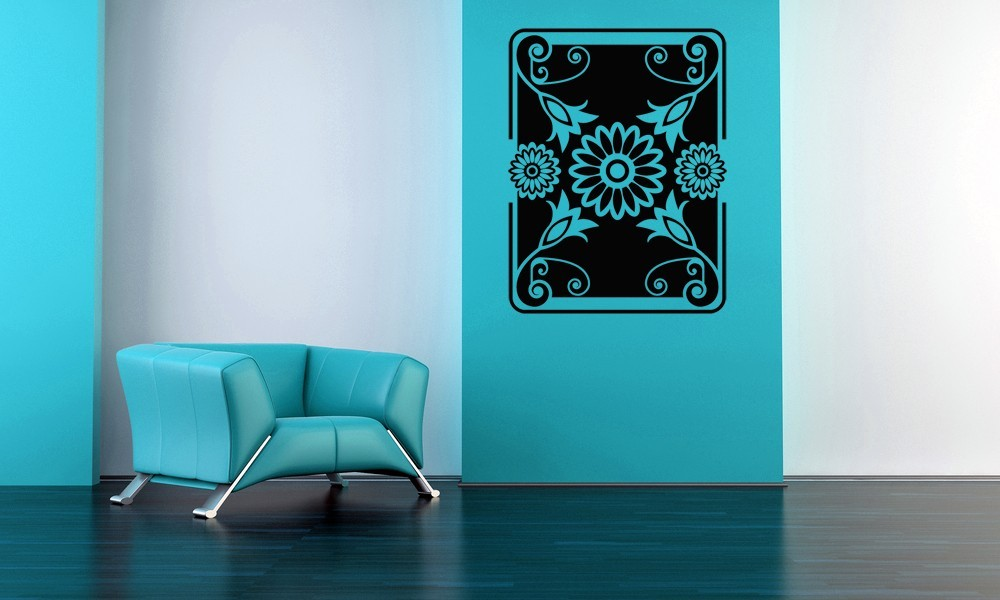 Primary image for Retro Floral Rectangular Art - Vinyl Wall Art Decal