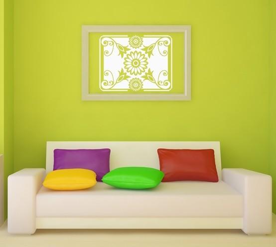 Retro Floral Rectangular Art - Vinyl Wall Art Decal