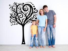 Tree with Hearts and Polka Dots - Vinyl Wall Art Decal - $75.00