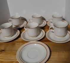 Japan Stoneware Peachy Cream And Brown Stripe 13 pieces 6 tea cups and 7... - $93.50