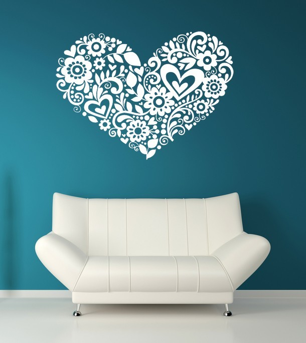 Primary image for Heart of Hearts and Flowers - Vinyl Wall Art Decal