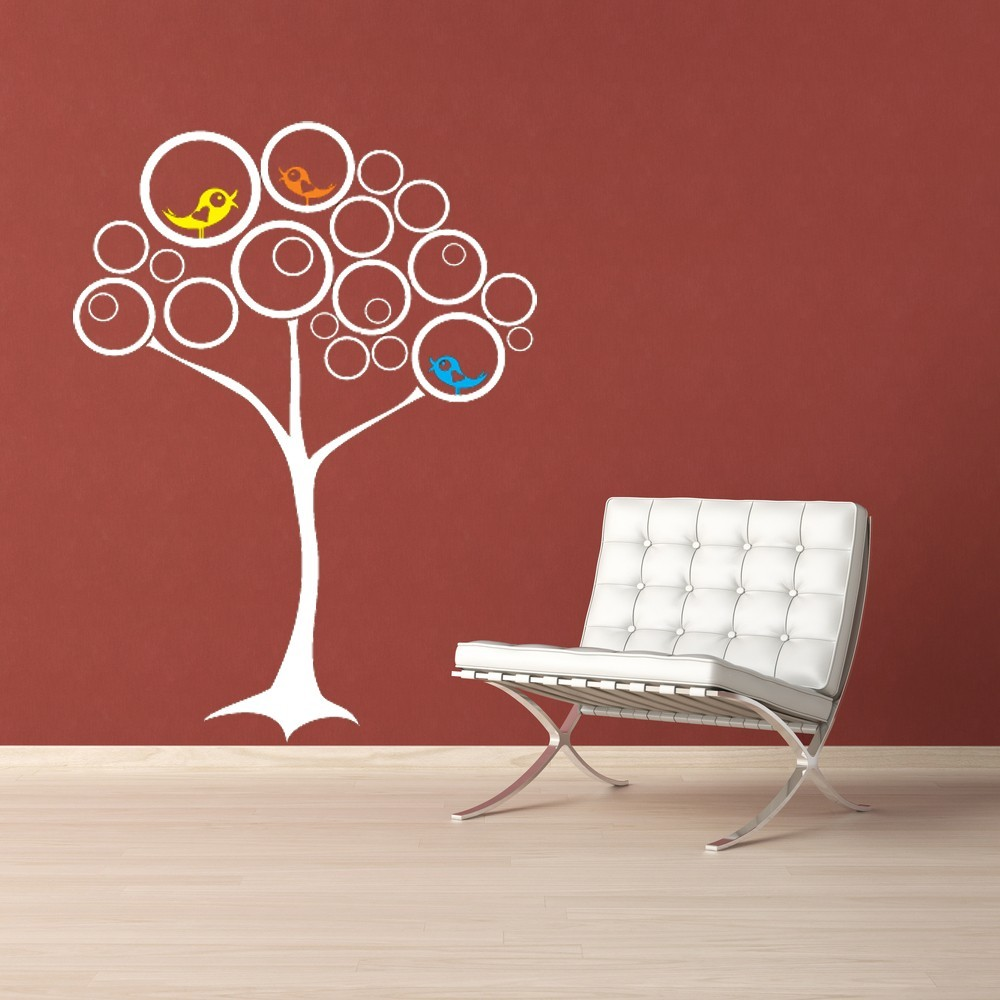 Circle Tree with Birds - Vinyl Wall Art Decal