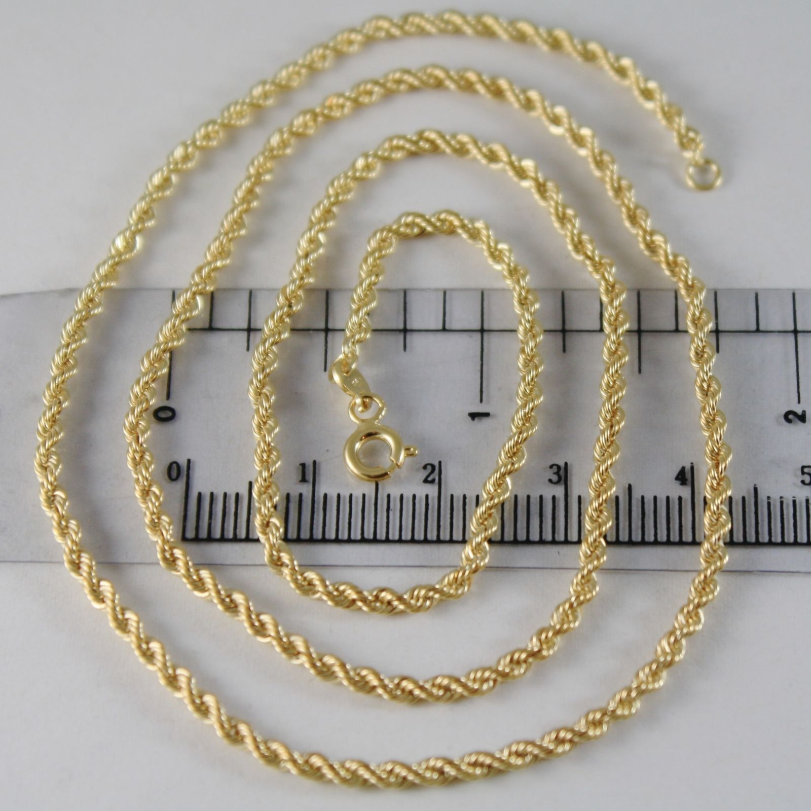 9K YELLOW GOLD ROPE CHAIN, 17.71, BRAID ROPE CORD, NECKLACE MADE IN ITALY, 9KT