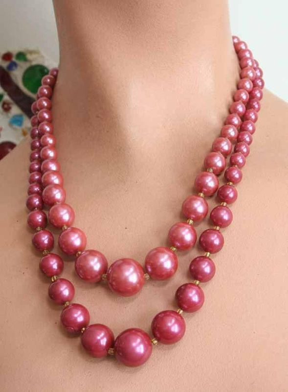 Primary image for Art Moderne 60s Delicious Plum Plastic Bauble Necklace