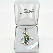 A.T. Storrs Wild Pearle Abalone Shell Penguin Pendant & Silver Tone Necklace