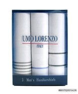 UMO LORENZO 3 Pack Mens Multiolor Cotton Handkerchiefs - $10.99