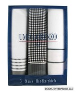 UMO LORENZO 3 Pack Mens White Gray Cotton Handkerchiefs - $10.99