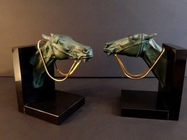 OUTSTANDING BOOK ENDS HORSE HEADS WITH GOLDEN BRIDLE ART DECO MAX LE VER... - $1,195.00