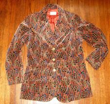Vintage 1970's Jerry Margil Sportswear Jacket Paisley Orange Velvet Blaz... - $49.99