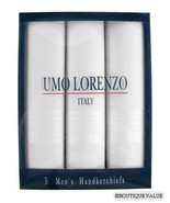 UMO LORENZO 3 Pack White Mens Cotton Handkerchiefs - $10.99