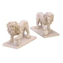 15158B  Regal Lion Paw on Ball Statue Yard Art Pair - $115.95
