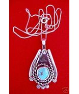 NAVAJO TURQUOISE & STERLING SILVER PENDANT & CHAIN - $94.42