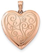 Jewelryweb 925 Sterling Silver Rose Gold-Flashed Swirl Design Heart Lock... - $226.64