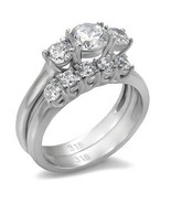Stainless Steel Lady's Engagement / Wedding  Ring Set W/ Clear CZ  - $28.99
