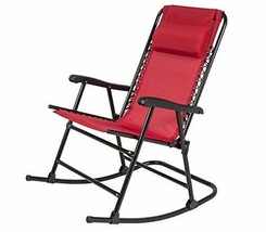 Folding Rocking Chair Red Patio Sling Back Lawn Zero Gravity Yard Camp F... - £59.20 GBP