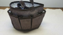 Thirty One 31 Organizer Tote Bag Small 5 Pockets Brown with White Dots - $15.90