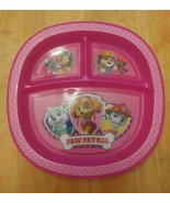 Paw Patrol Munchkin Kids Pink 3-Section Divided Plastic Plate Spinmaster - $8.90