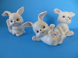 3 Homco 1458 Ceramic White Bunny Figurine - $14.95