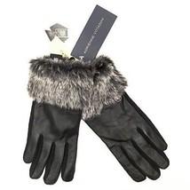NWT Adrienne Vittadini Faux Fur Black Leather Gloves L - $26.99