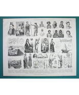 ETHNOGRAPHY Indonesia Philippines Natives Costume Huts etc - 1870s Antiq... - $17.96