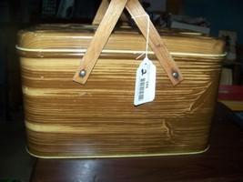 Mid CenturyTin METAL Picnic Basket Wood Grain F... - $27.72