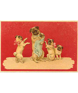 The Pug Family Portrait Vintage Post Card - $6.00