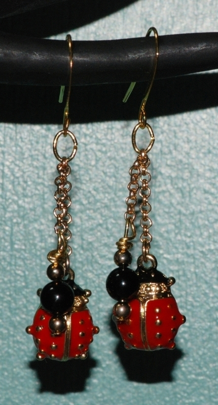 Handcrafted Enamel Ladybug and Onyx Dangling Earrings OOAK