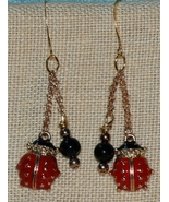 Handcrafted Enamel Ladybug and Onyx Dangling Ea... - $18.00