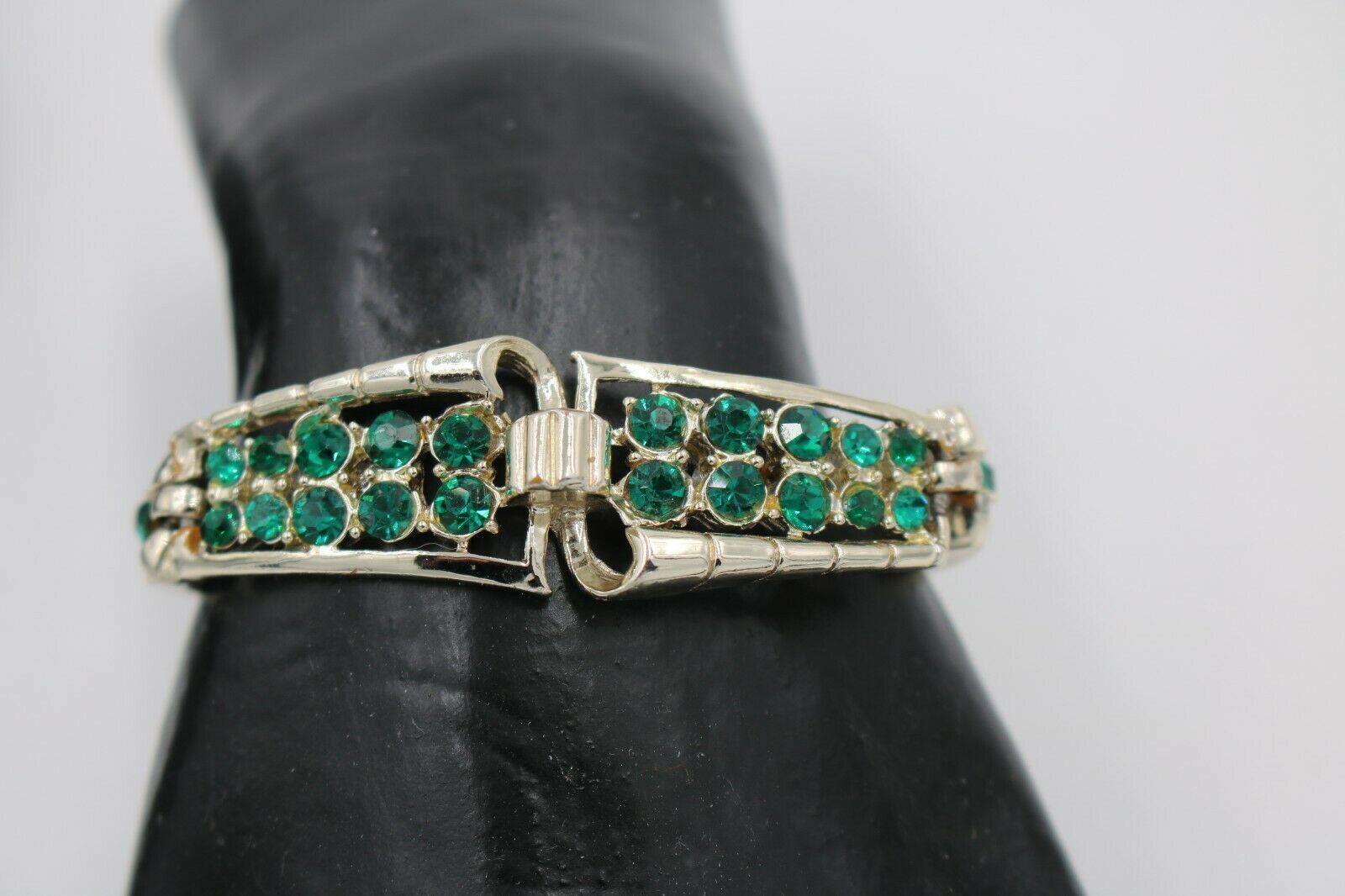 Vintage Emerald Green Rhinestone Link Bracelet Made with Swarovski Rhinestones