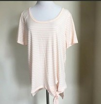 Jones New York Peach White Striped Tie Front Short Sleeve Tunic XL - $24.99