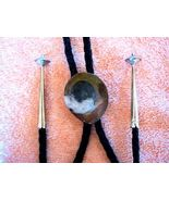 POLISHED FOSSIL BOLO LEATHER TIE W STERLING SIL... - $63.21