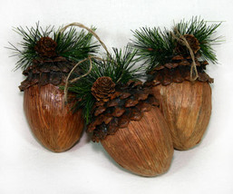 Set of 3 Acorn Ornaments for Your Christmas Tree - $14.95