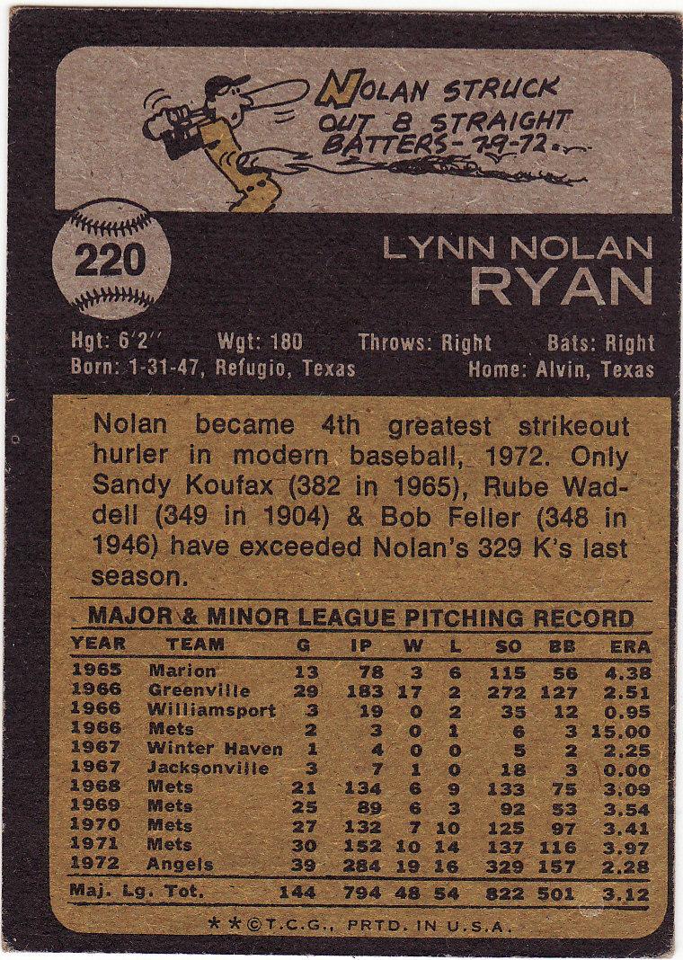 Nolan Ryan 1973 Topps #220 VG