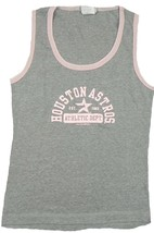 Junior Women's Houston Astros Tank Top Shirt Baseball Sleeveless Tee Grey Pink