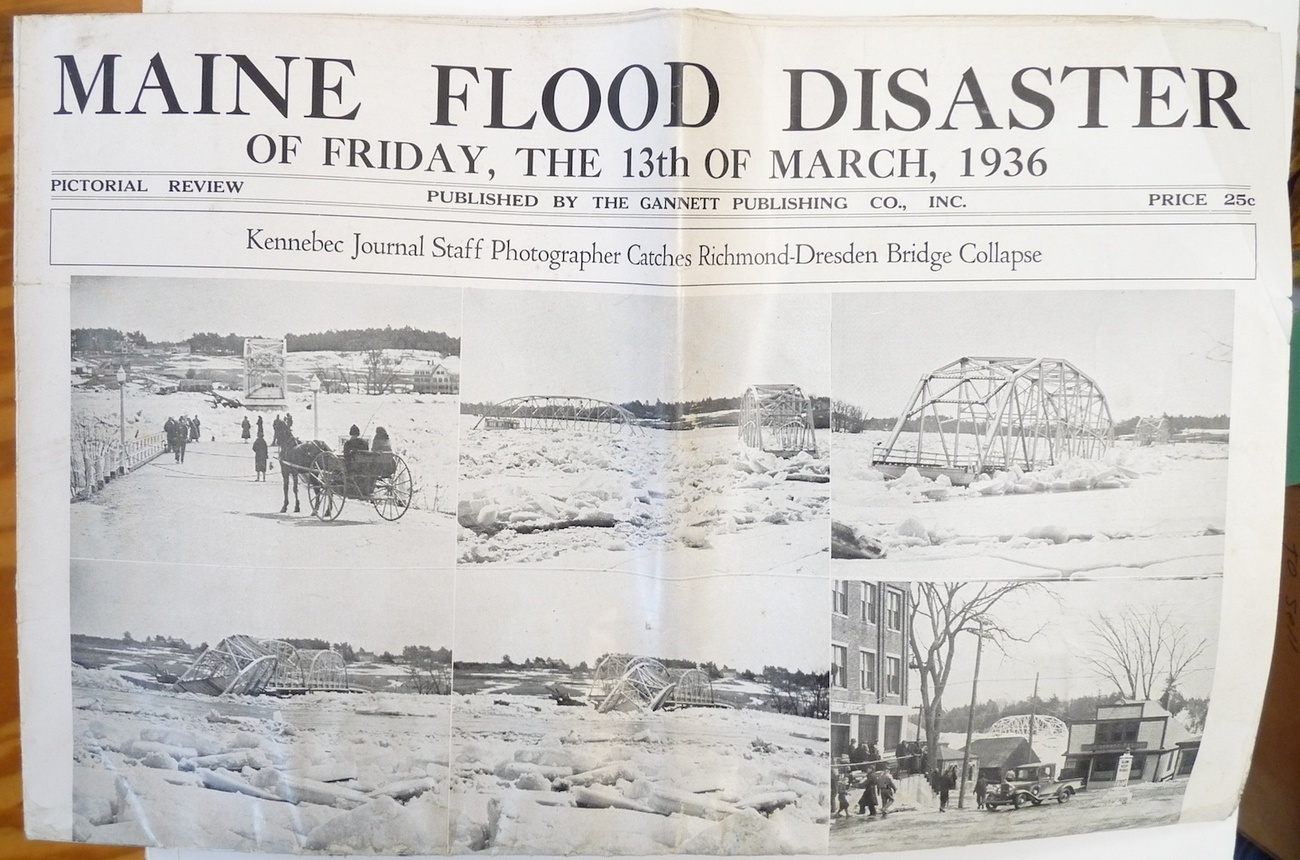 Maine Flood Diaster March 1936 pictorial review magazine Kennebec Journal