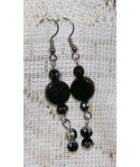 Handcrafted Black Czech Glass and Silver Earrings - $4.50