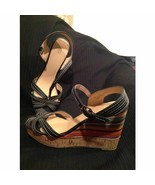 CATO 11M WOMEN'S BLACK W/STITCHING & MULTI-COLOR WEDGE FASHION SANDALS S... - $25.24