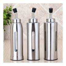 Stainless Steel Oil Kettle Vinegar Can Soy Bottle with Visible Window round - $16.03