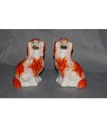 Pair Antique Pottery Staffordshire Russet White Pottery Spaniels 19th Ce... - $300.00