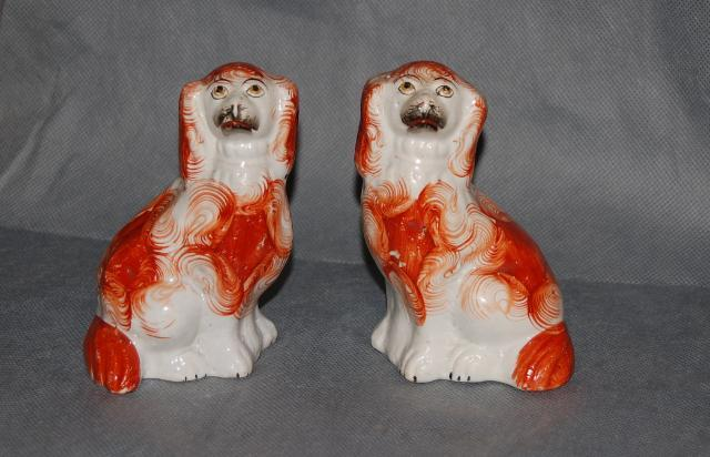 Pair Antique Pottery Staffordshire Russet White Pottery Spaniels 19th Century