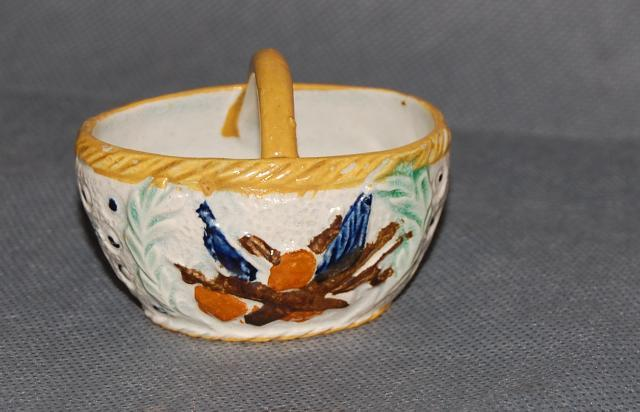 Antique English Pottery Staffordshire Prattware Present Basket Late 18th Century