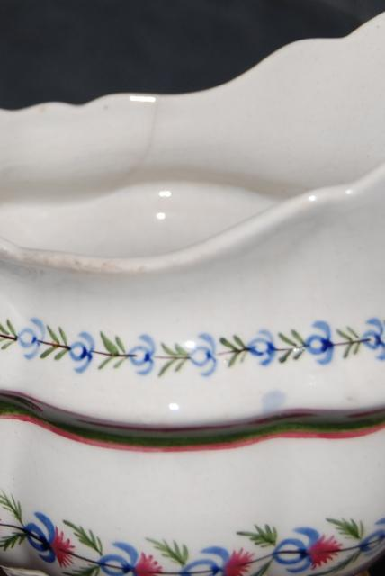 Antique English Pearlware Pottery Flower Scroll Pitcher