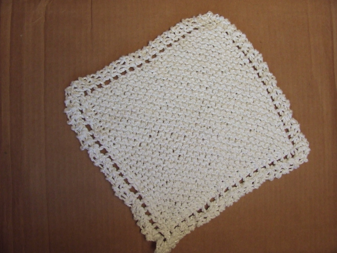 Handknit Cotton Dishcloth~white with gold`new Freebie
