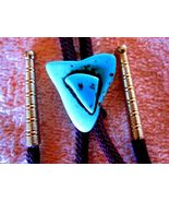 TURQUOISE LOOK STONE BOLO WOVEN TIE GOLDTONE TIPS - $20.94