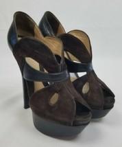 Fendi Mujer 6.5 Terciopelo Marrón con Plataforma Peep Toe Zapatillas - $222.83