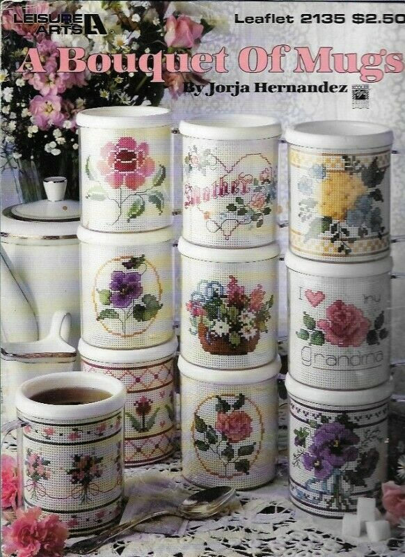Primary image for A Bouquet of Mugs in Counted Cross Stitch Leisure Arts 2135 1991 Flowers