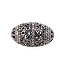 24x14 mm Pave Diamond Filigree Spacer Bead 92 5Sterling Silver Vintage F... - $240.30