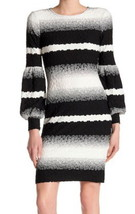 ECI Textured Stretch Dress 12 Large Black + White Bubble Long Sleeves Bo... - $56.07