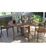 Folding Wood Patio Table Portable Outdoor Round Drop Leaf  - $347.60